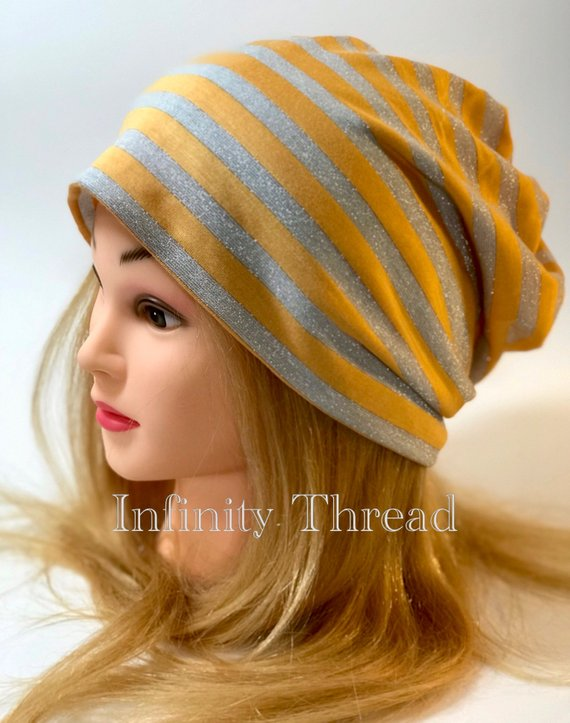 Handmade Slouchy beanie – Yellow and silver