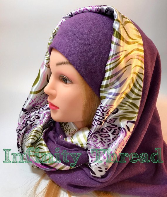 Handmade slouchy beanie - purple and multicolored