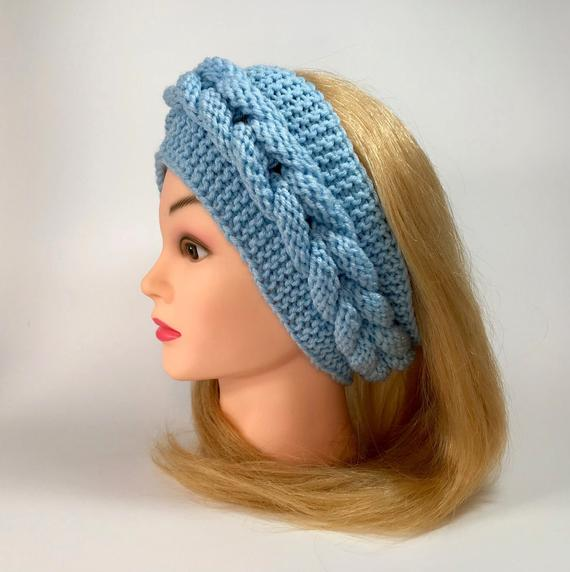 Handmade Knitted Headband – blue