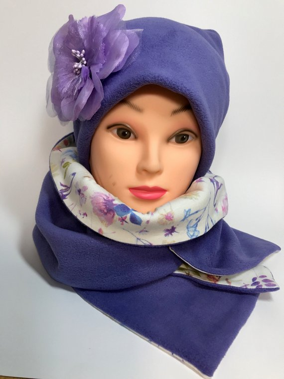 Handmade Purple Fleece Beanie and Two Sided Scarf