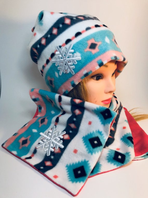 Handmade soft beanie and two sided scarf - winter set