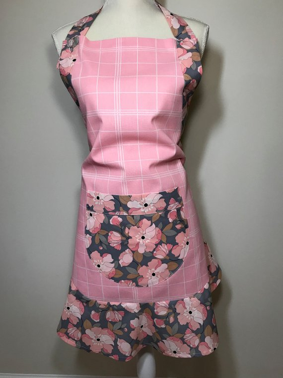 Women Handmade Pink Magnolia Checked Kitchen Sexy Chef Apron