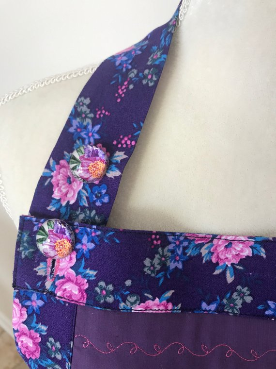Beautiful apron is handmade, the yellow stripes embroidered